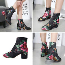 Hot Fashion Women Floral Suede Heels Ankle Boot Party Prom Side Zipper Booties