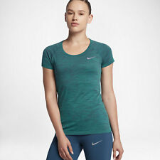 Nike DRI FIT KNIT WOMEN'S SHORT SLEEVE RUNNING TOP Turbo Green-Size XS,M,L Or XL
