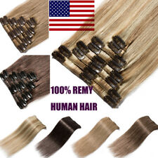 Premium Natural Clip in Human Hair Extensions 100% Real Remy Hair Highlight B799