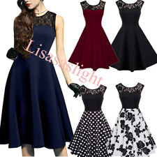 Women Vintage 1950s Cocktail Evening Party Mesh Lace Swing Wiggle A-Line Dress