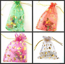 Organza Bags Heart Design Jewellery Storage, Wedding Favours x 10