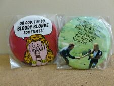 FUNNY NOVELTY HANDBAG/COMPACT MIRROR. 'SO BLOODY BLONDE', 'LIVE WITH A PSYCHO'
