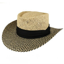 UV 50+ Men's Straw Lightweight Wide Brim Gambler Hat with Hat Band