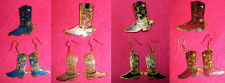 NEW-CLOISONNE WESTERN COWBOY GIRL BOOTS PIN & WIRE EARRINGS SET-EXCLUSIVE