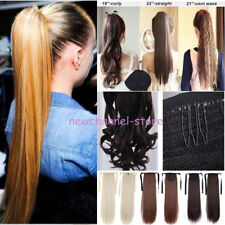 US Long New Thick Clip In Ponytail Pony Tail Hair Extension Straight Human Style