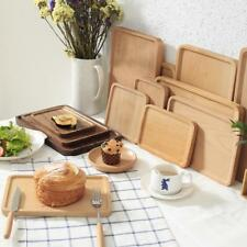 Beech Solid Wood Tea Storage Table Serving Tray Square Rectangular Plate