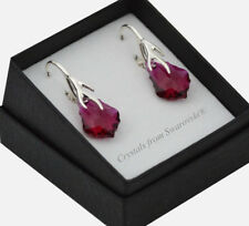 925 Sterling Silver Earrings (Leaf) 16mm Baroque *Ruby* Crystals from Swarovski®
