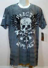 Affliction Mens Tshirt Mash SS Tee Silver Gray A4154 Cotton size sz S NEW NWT