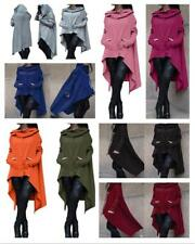 Women Draw Cord Coat Casual Poncho Hooded Pullover Hoodies Long Sweater Top UK