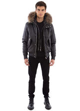 Black Cross Bomber Leather Jacket with Real Fur Hood