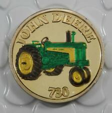 John Deere 730 Tractor Colorized 999 Fine Silver Proof 1oz Art Round C0197