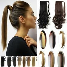 US SALE 100% Real Clip In as human Hair Extension Pony Tail Wrap Around Ponytail