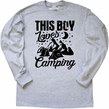 Inktastic This Boy Loves Camping With Tent Trees Mountains Long Sleeve T-Shirt I