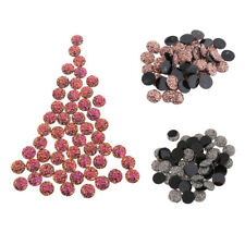 50pcs Round Flat Back Resin Rhinestones Wedding Craft Glitter Cabochon Gems 12mm