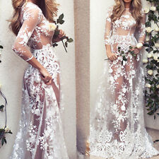 Stunning Women Sexy Long Sleeve Lace Tulle Long Maxi Evening See-through Dress