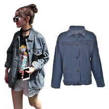 Women Harajuku Oversize Loose Female Jeans Coat Solid Denim Jacket Vintage