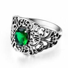 Emerald 925 Ring Rings Sterling Silver Victorian  Handmade Gemstone Ring Jewelry
