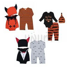 Infant Baby Boy Girl Halloween Pumpkin Cosplay Outfit Bodysuit Romper Bat Caps