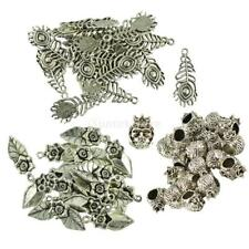 20pcs Tibetan Silver Alloy Charm Pendants DIY Jewelry Flower Peacock Accessories