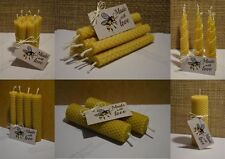 Bundle of Hand Rolled Handmade Pure Beeswax Candles from Beeswax Sheets / Gift