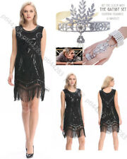 Ladies 1920s Roaring Flapper Costume Sequin Gatsby 20's 30's Fancy Dress Costume