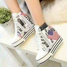 Womens Hidden Wedge Heel Ankle Boot College Sneaker High Top Leather Shoes Hot