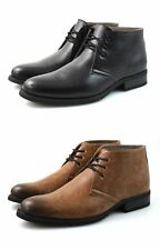 Mens Black Brown Tan Chukka Desert Boots Faux Leather Ankle Winter 6 7 8 9 10 11