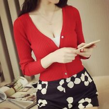 Womens Slim Fit V Neck Cardigan Long Sleeve Cropped Sweater Choose Size/ Color