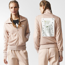 Adidas Originals Firebird Women's Jacket Pink Nude Vintage Print Track Top New