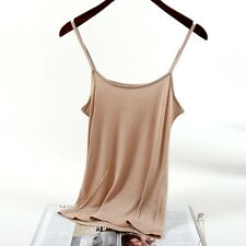 Women Silk Camisole Tank Top Vest Sleeveless Basic T-shirt Comfy Solid Thin Soft