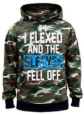 Men's I Flexed And The Sleeves Fell Off Camo Hoodie Fitness Gym Workout Running