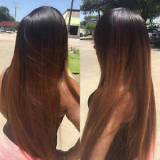 Heat Resistant Synthetic Fiber Dark Brown Ombre Straight Lace Front Hair Wig