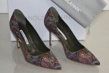 New MANOLO BLAHNIK BB 90  Paisley Green Suede Pumps Heels Shoes 39