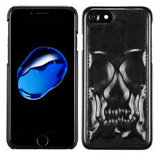 Black SKULL Leather 3D HYBRID Hard Rubber Case Cover For Apple iPhone 7 8 / Plus