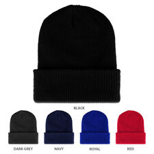 Solid Color Ribbed Cuffed Knit Long Acrylic Beanie - FREE SHIPPING