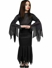 Child Girls Morticia Addams Family Halloween Fancy Dress Costume Outfit