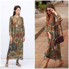ZARA LONG PRINTED DRESS WITH ORIENTAL SLEEVES BLOGGERS FAV. XS  REF.2593/745