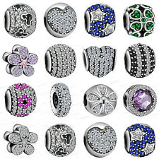 925 European Sterling Crystal Silver Pave Charms Cubic Zircon Bead for Bracelet