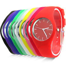 Womens Jelly Cute Silicone Band Dial Quartz Analog Sports Colorful Wrist Watch
