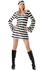 Ladies Sexy Convict Chick Prisoner Jail Inmate Hen Fancy Dress Costume