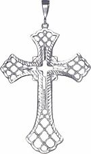Huge Heavy Sterling Silver Cross without Jesus Pendant Necklace 5 Inches 24 Gram