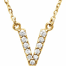 """14K Gold Diamond V Initial Letter Charm Pendant with 18"""" Rolo Chain Necklace"""