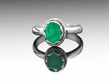 925 Sterling Silver Ring with Natural Oval Green Emerald Gemstone Bezel Settings