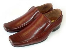NEW MENS DRESS SHOES LOAFERS SLIP ON COMFORT LEATHER LINED FREE SHOE HORN/ BROWN