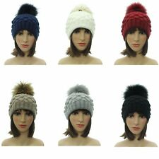 Women Ladies Beanie Bobble Hat Knitted Large Winter Warm Fur Pom Pom Gifts