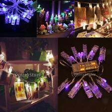 10/20/30 LED Photo Clip Peg String Fairy Light Battery Operated Home Party Decor