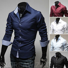 Mens Luxury Casual Dress Shirt Long Sleeve Slim Fit Stylish Shirts Button Front^