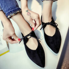 Women Strappy Casual   Pointed Toe Flat Shoes Bow Ballet Ballerine Flats