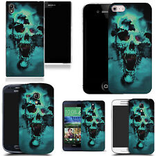 art case cover for various Mobile phones - blue holed skull silicone