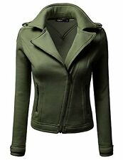 CWOJA0143-OLIVE-2 Doublju Womens Casual Slim Fit Zip-Up Rider Moto Jacket